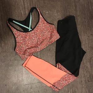 Color Block Activewear Set (Top & Leggings) Sz L